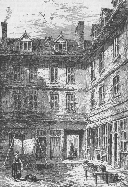 Associate Product HOLBORN VIADUCT Goldsmith's House, Green Arbour Court, about 1800. London c1880