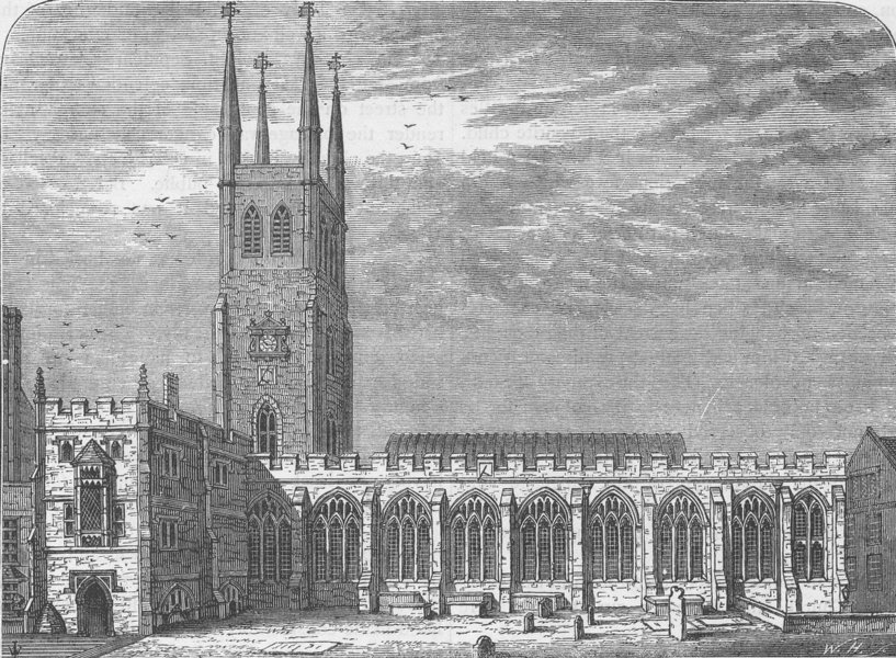 Associate Product CITY OF LONDON. St.Sepulchre-without-Newgate church in 1737 c1880 old print