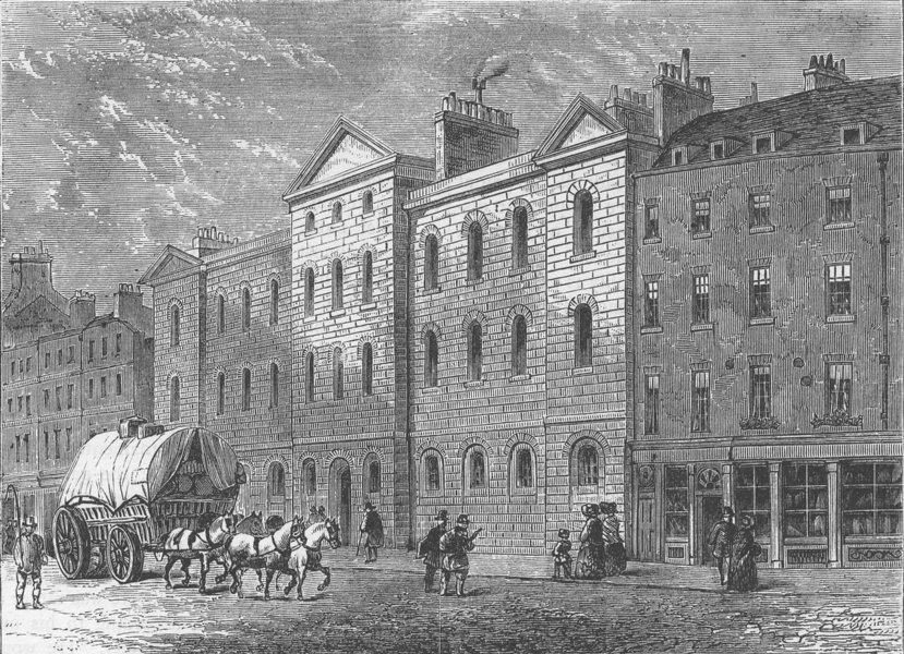 Associate Product SMITHFIELD. Giltspur Street Compter, 1840. London c1880 old antique print
