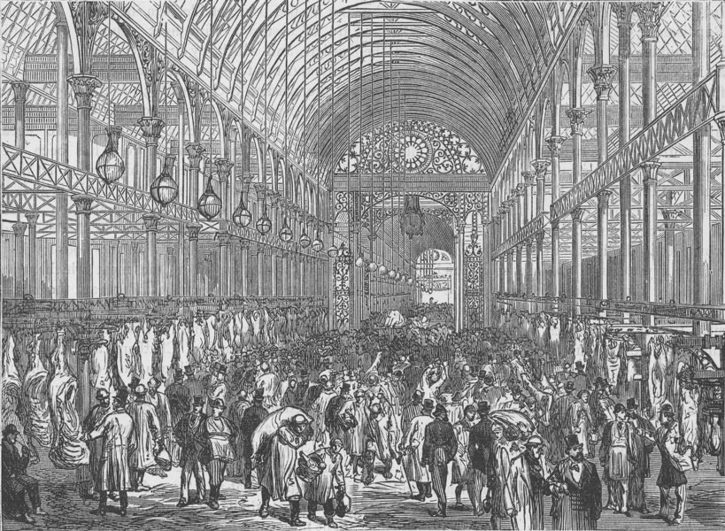 SMITHFIELD. The Metropolitan Meat Market. London c1880 old antique print