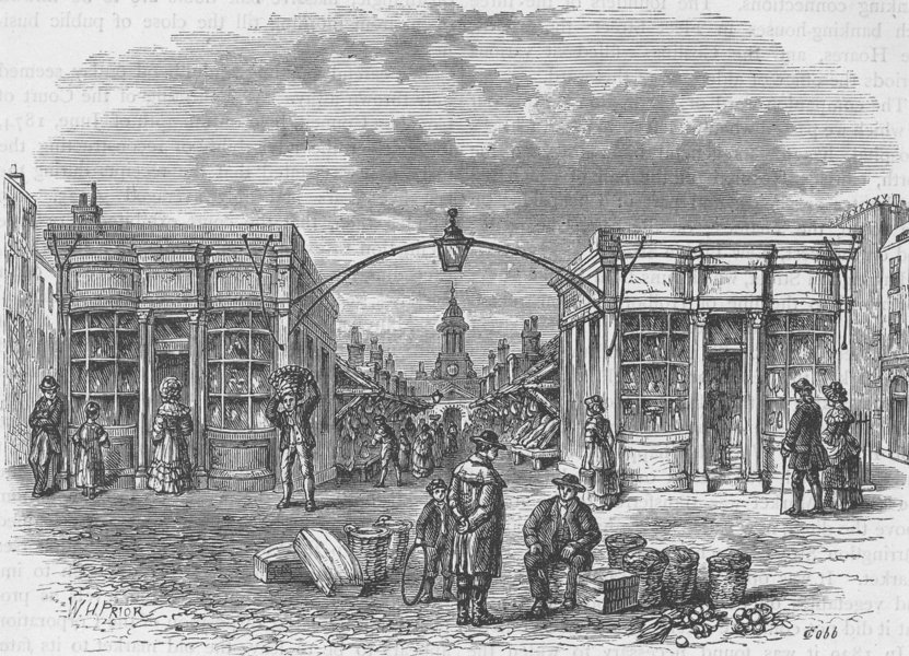 Associate Product FARRINGDON STREET. Fleet Market, about 1800. London c1880 old antique print