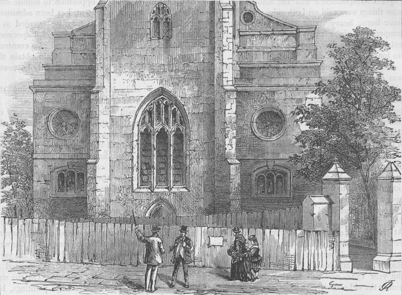 Associate Product WREN CHURCHES. The West End of St.Andrew Holborn, with the Gothic arch c1880