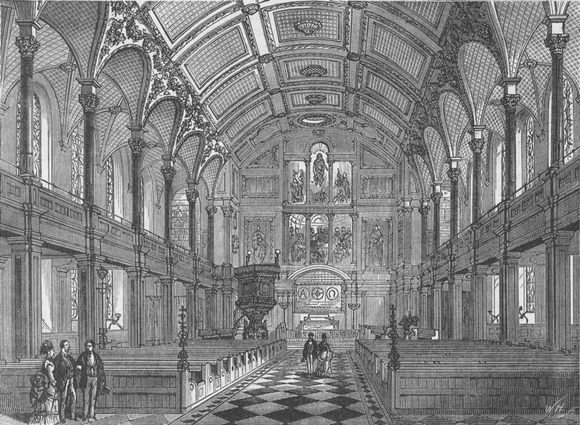 Associate Product WREN CHURCHES. Interior of St.Andrew's church, Holborn. London c1880 old print