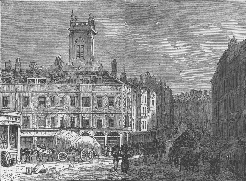 Associate Product WREN CHURCHES. St.Andrew's church, Holborn, from Snow Hill, in 1850 c1880