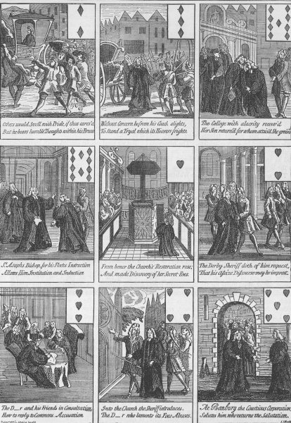 """Associate Product GAMING. """"Sacheverell"""" cards (Queen Anne's reign). London c1880 old print"""
