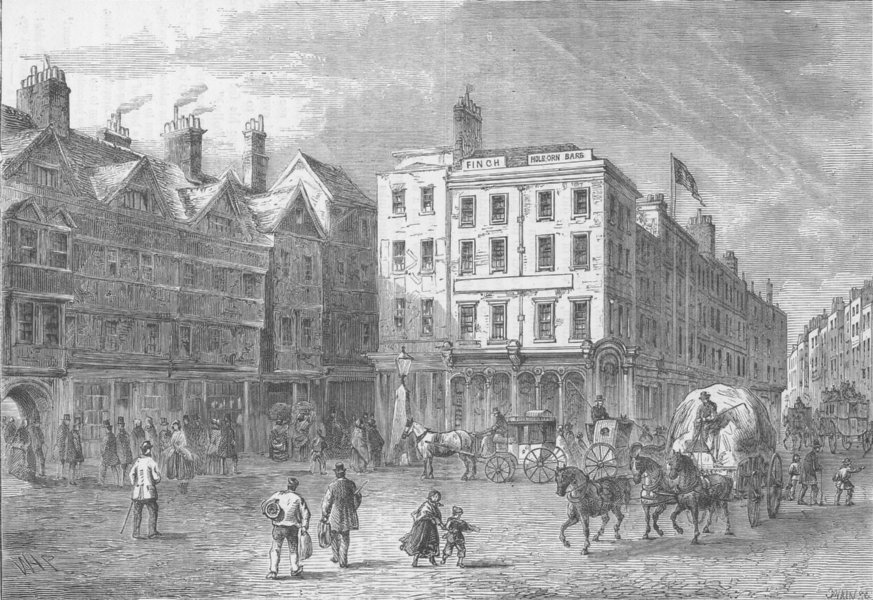 Associate Product HOLBORN. Middle row, shown shortly before its demolition c1880 old print