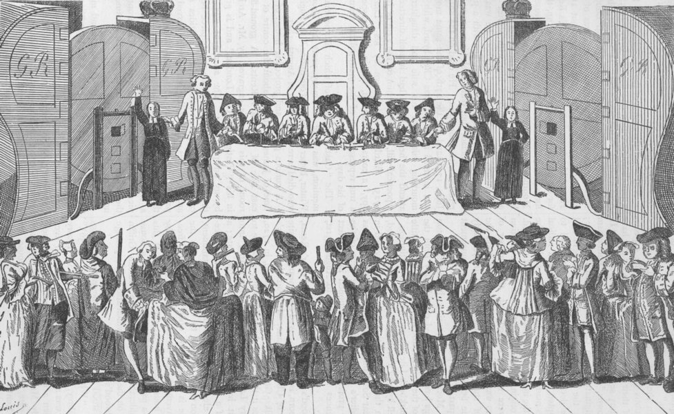 Associate Product CITY OF LONDON. Drawing the state lottery at Guildhall (c1750) c1880 old print