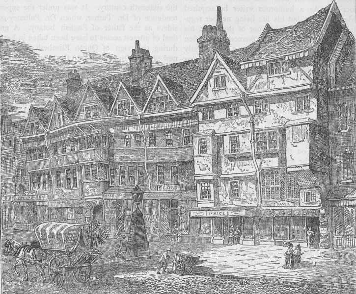 Associate Product HOLBORN. Old Houses in Holborn near middle Row. London c1880 antique print