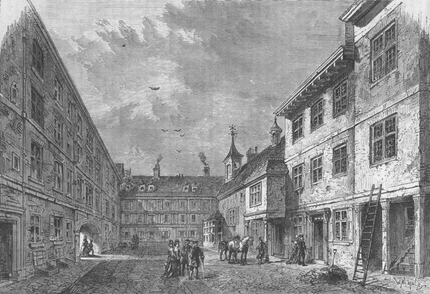 Associate Product HOLBORN INNS OF CHANCERY. Interior of Furnival's Inn, 1750. London c1880 print