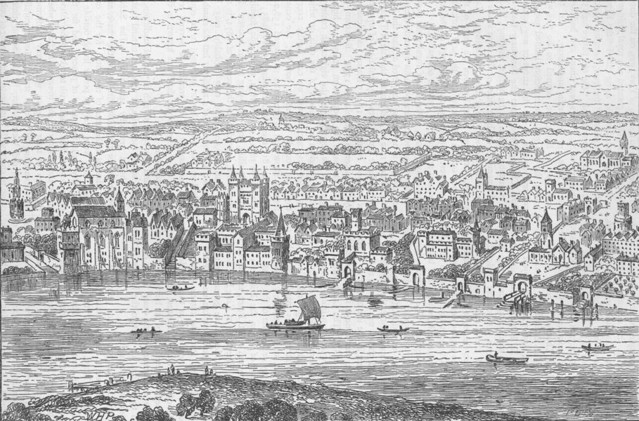Associate Product LONDON. From Temple Bar to Charing Cross (Van der Wyngarde 1543) c1880 print