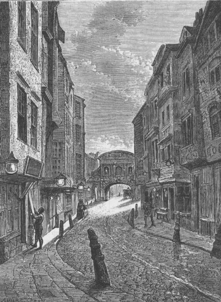 Associate Product ALDWYCH. Butcher's Row in 1800. London c1880 old antique vintage print picture