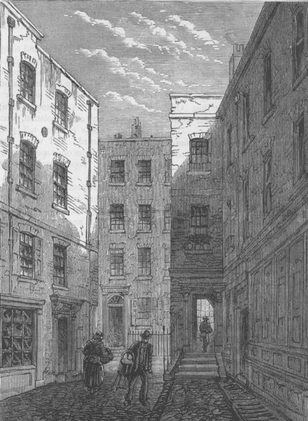 Associate Product BLOOMSBURY. Boswell Court, before its demolition. London c1880 old print