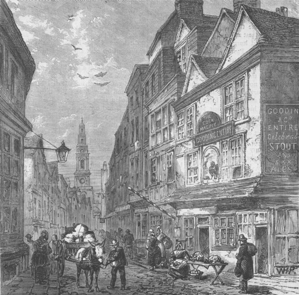 """DRURY LANE. The """"Cock and Magpie"""", in 1840. London c1880 old antique print"""