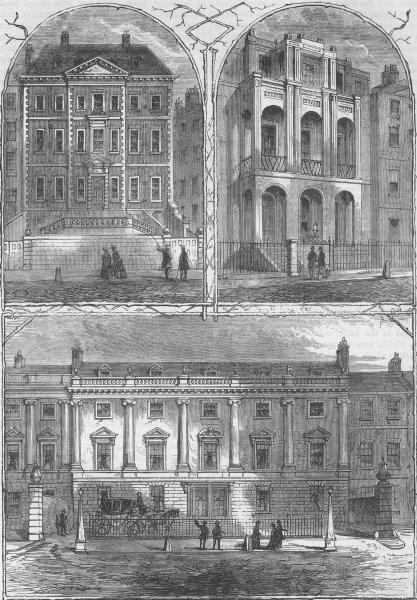 Associate Product LINCOLN'S INN FIELDS HOUSES. Newcastle. Sir John Soane. Duke of Ancaster c1880