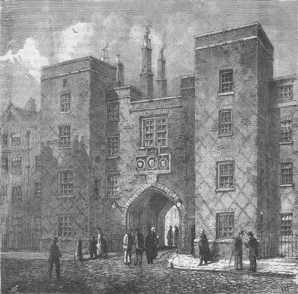 Associate Product LINCOLN'S INN FIELDS. Lincoln's inn gate, Chancery Lane. London c1880 print