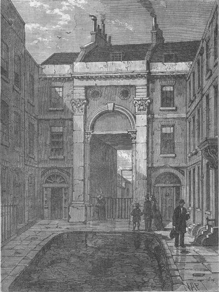 Associate Product LINCOLN'S INN. Essex Water Gate, Essex Street, Strand. London c1880 old print