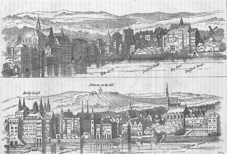 Associate Product LINCOLN'S INN. The strand, from the Thames, sixteenth century. London c1880