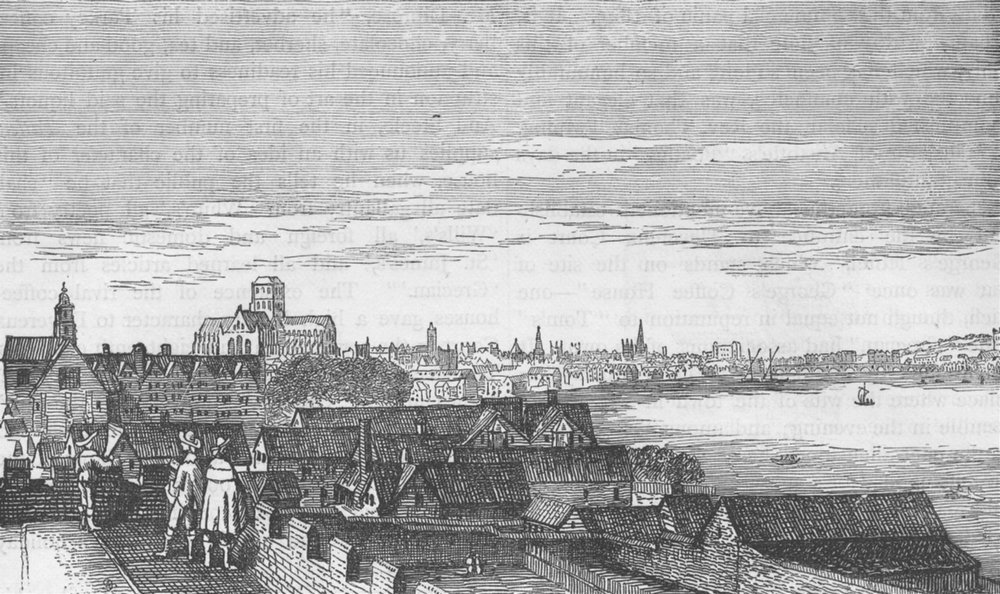 Associate Product THE STRAND. London, from Arundel House (from a Hollar etching) c1880 old print