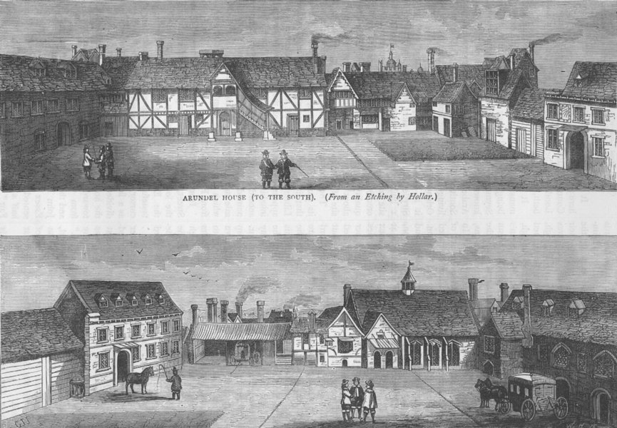 Associate Product THE STRAND. Arundel House (from an etching by Hollar). London c1880 old print