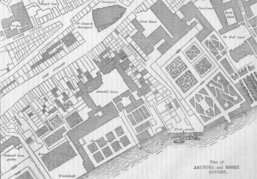 Associate Product THE STRAND. Plan of Arundel and Essex Houses. London c1880 old antique map