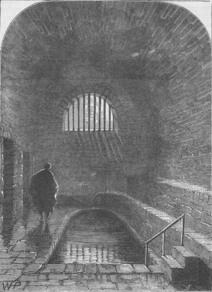 Associate Product THE STRAND. Old Roman bath, Strand Lane. London c1880 antique print