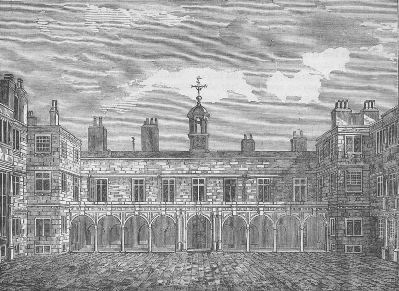 Associate Product ST. MARY-LE-STRAND. Court of old Somerset House, from the North. London c1880