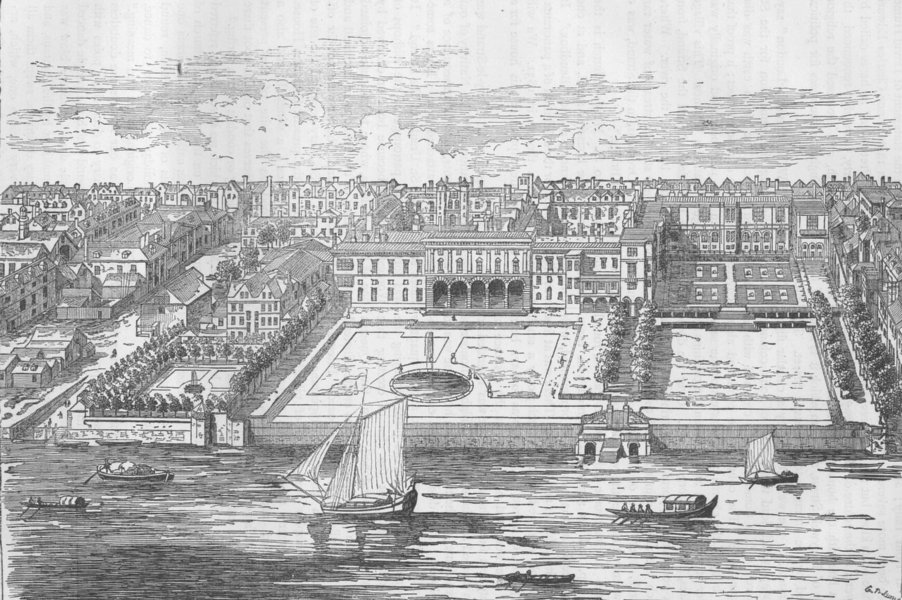 ST. MARY-LE-STRAND. Somerset House in 1755. London c1880 old antique print