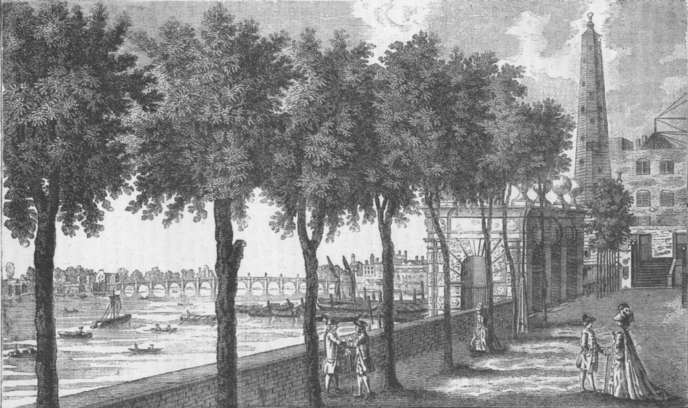 Associate Product THE STRAND. York Stairs and the Water Tower in 1780 c1880 old antique print