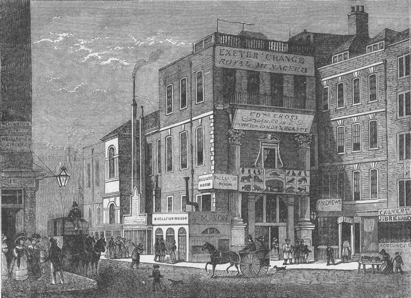 Associate Product THE STRAND. Exeter Change in 1826. London c1880 old antique print picture
