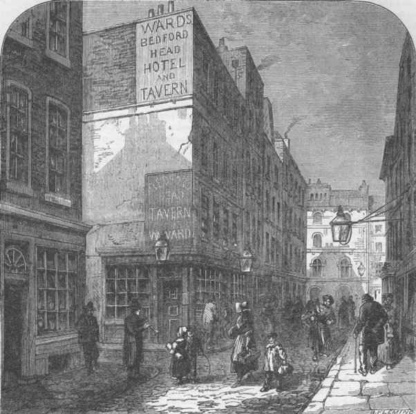"""Associate Product THE STRAND. The old """"Bedford head"""". London c1880 antique print picture"""