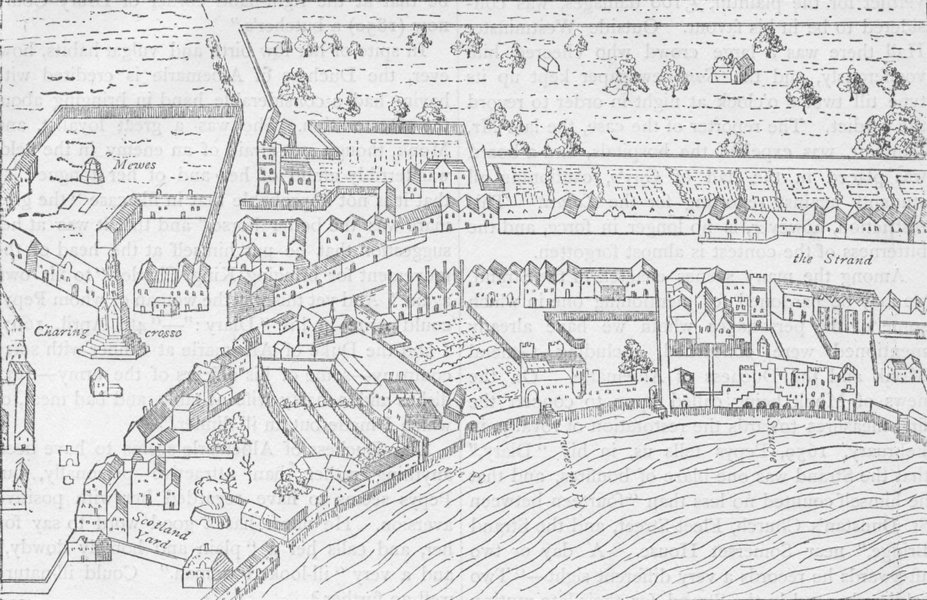 Associate Product THE STRAND. View in 1560 (from th map of Ralph Aggas). London c1880 old