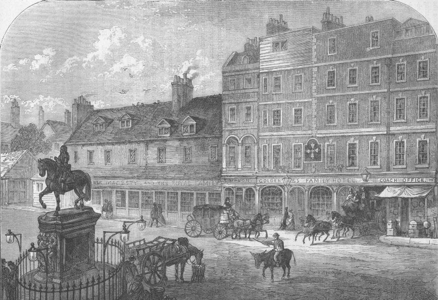 Associate Product CHARING CROSS. Charing Cross from Northumberland House in 1750. London c1880
