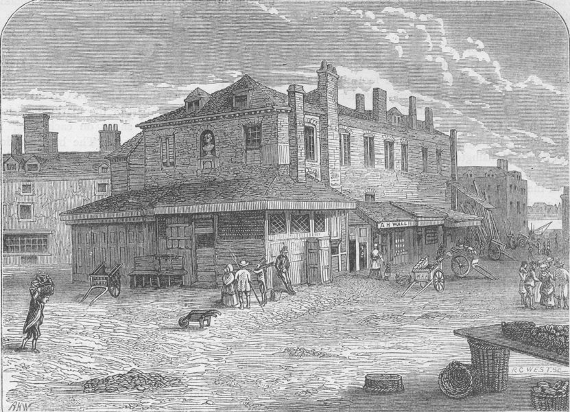 Associate Product CHARING CROSS. Old Hungerford Market in 1805 c1880 antique print picture