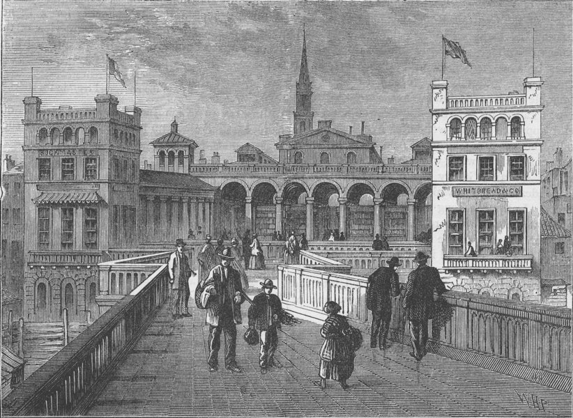 Associate Product CHARING CROSS. Hungerford bridge, from the bridge, in 1850. London c1880 print