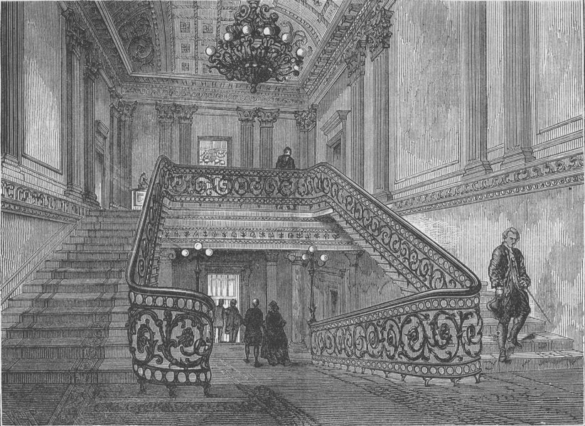 Associate Product TRAFALGAR SQUARE. Staircase in Northumberland House. London c1880 old print