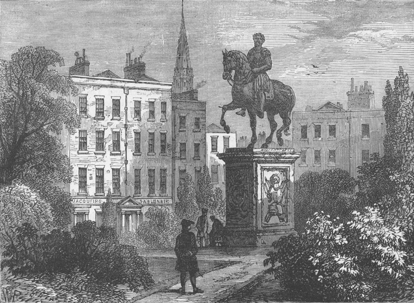 Associate Product LEICESTER SQUARE. Statue of George 1., and Hogarth's House, 1790. London c1880