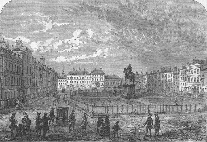 Associate Product LEICESTER SQUARE. Leicester Square, about 1750. London c1880 old antique print