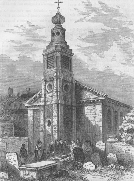 Associate Product SOHO. St.Anne's, Soho in 1840. London c1880 old antique vintage print picture