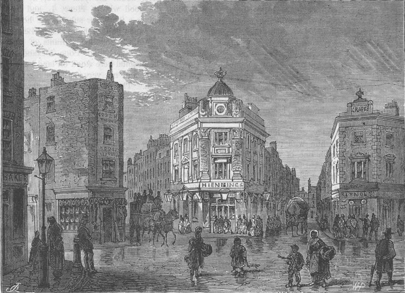 Associate Product ST.GILES'S-IN-THE-FIELDS. Seven dials. London c1880 old antique print picture