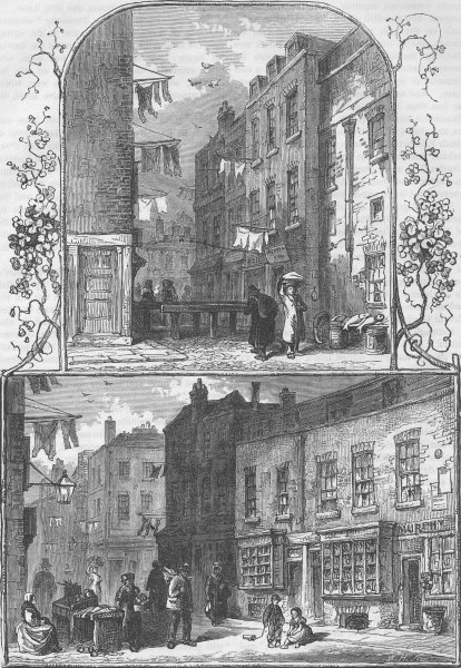 Associate Product ST.GILES'S-IN-THE-FIELDS. Views in the rookery, St.Giles's. London c1880 print