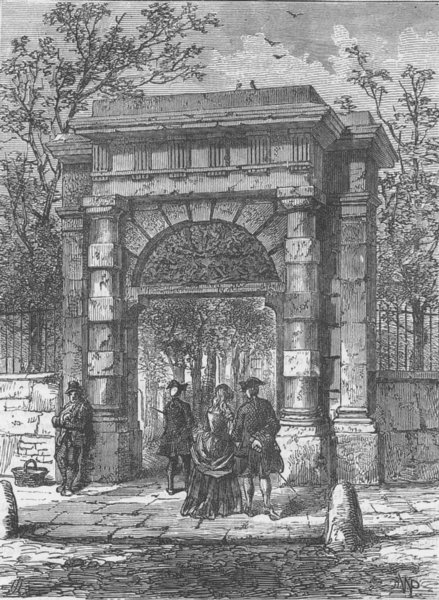 Associate Product ST.GILES'S-IN-THE-FIELDS. The gateway in its original position. London c1880