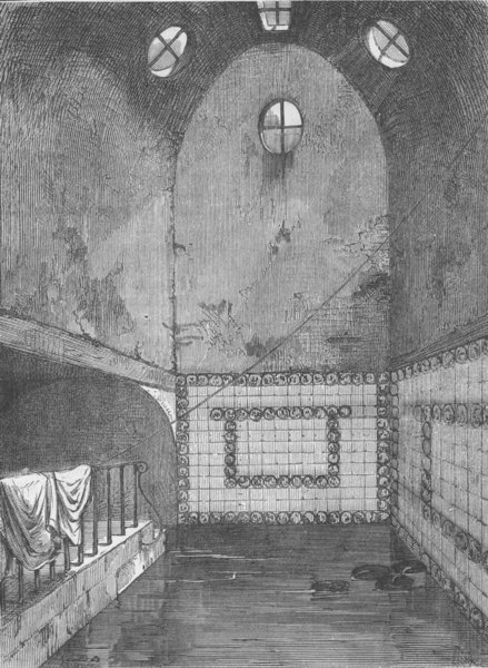 Associate Product ST.GILES'S-IN-THE-FIELDS. Queen Anne's bath, in 1851 c1880 old antique print