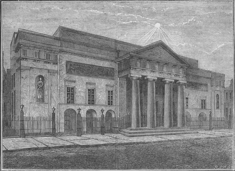 Associate Product COVENT GARDEN THEATRE. Exterior Garden Theatre. Front in 1850. London c1880