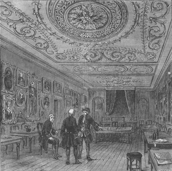"""Associate Product COVENT GARDEN. The old room at """"Evans's"""". London c1880 antique print"""