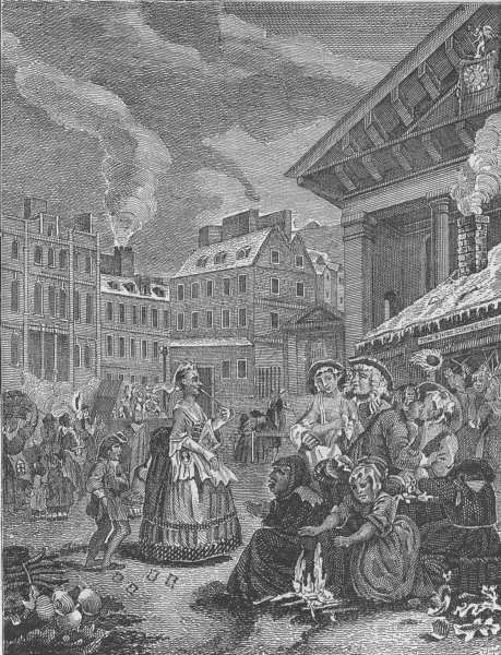 """Associate Product COVENT GARDEN. """"Morning"""" (after Hogarth's print). London c1880 old"""