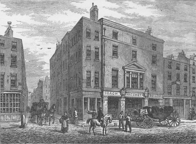 Associate Product COVENT GARDEN. An old Coachmaker's shop in Long Acre. London c1880 print