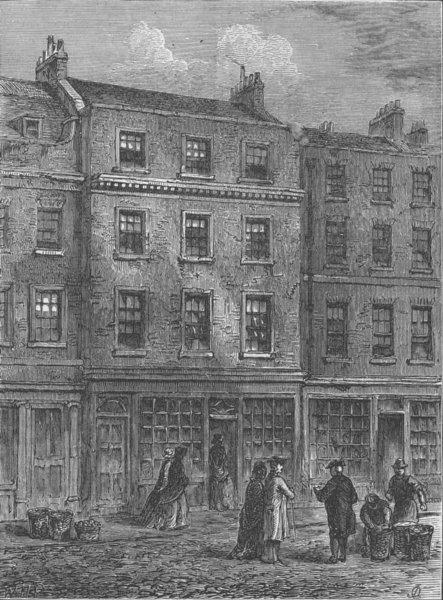 Associate Product COVENT GARDEN. Mr. Davies' shop, Russell Street. London c1880 old print