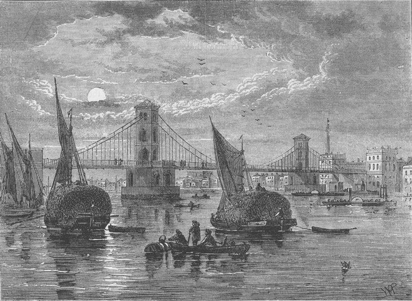 Associate Product THE RIVER THAMES. Hungerford suspension bridge. London c1880 old antique print