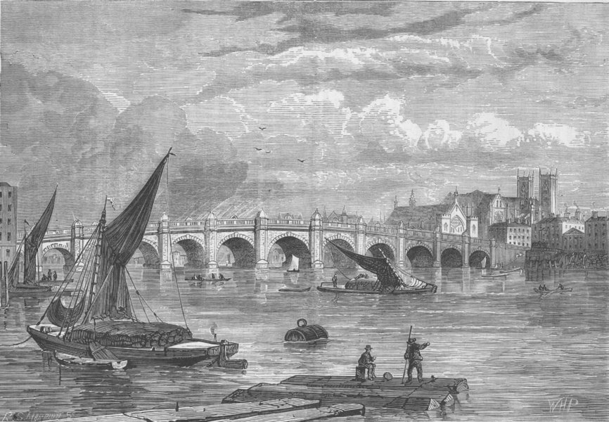 Associate Product THE RIVER THAMES. Old Westminster Bridge in 1754. London c1880 print