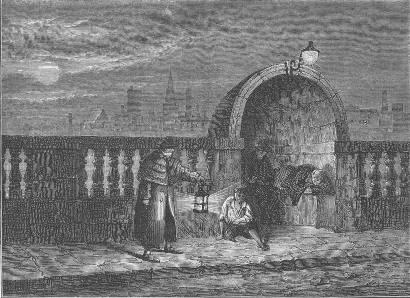 Associate Product THE RIVER THAMES. Alcoves of Old Westminster Bridge. London c1880 print